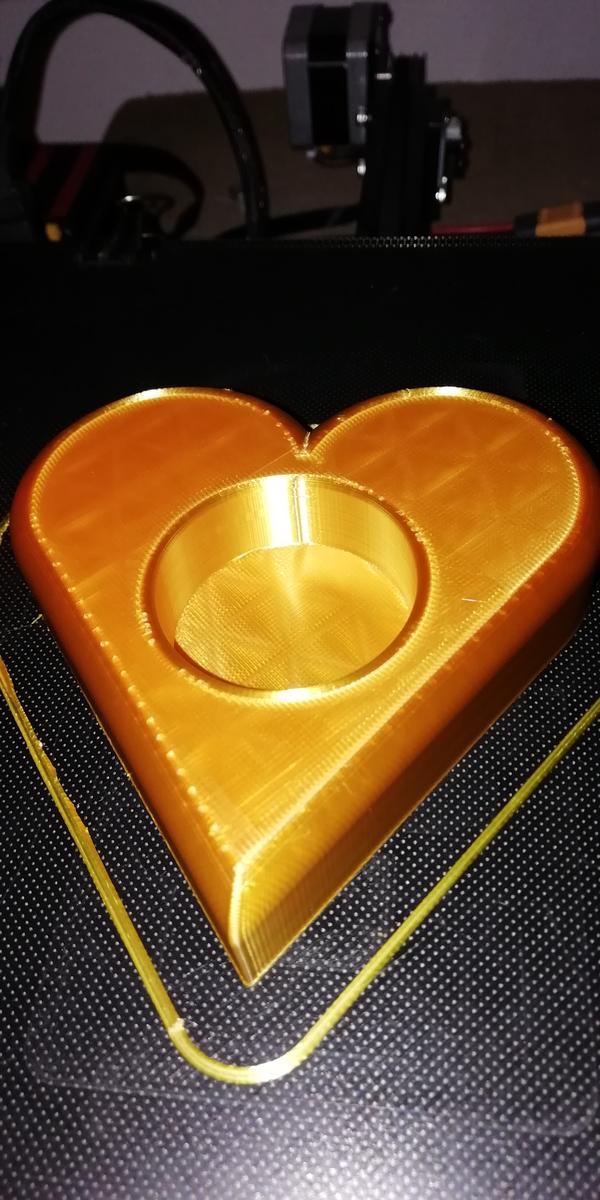 cuore portacandela in PLA Silk oro Sunlu