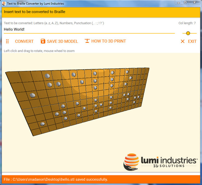 Lumi Industries Codice Braille